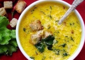Krēma-siera zupa ar šķiņķi un grauzdiņiem