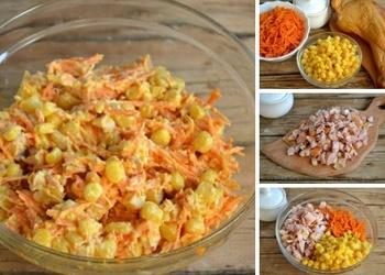 Kūpinātas vistas gaļas salāti ar Korejas burkāniem