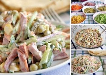Burkānu salāti ar desu un konservētiem zirnīšiem