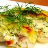 Копченая рыба в сметанном соусе с хреном