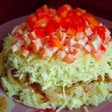 Kartupeļu salāti ar sieru, dārzeņiem un olām