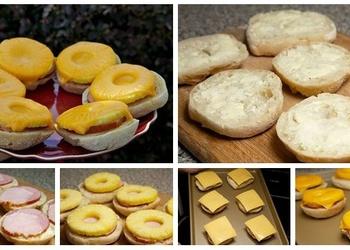 Atvērtais sendvičs ar  šķiņķi, sieru un ananāsiem