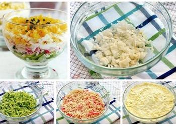 Svaigu gurķu salāti ar olu, sieru un krabju nūjiņām