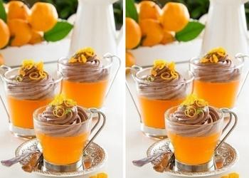 Mandarīnu želeja ar šokolādes mussu
