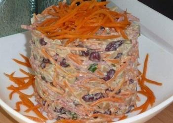 Pupiņu salāti ar kūpinātu desu un šampinjoniem
