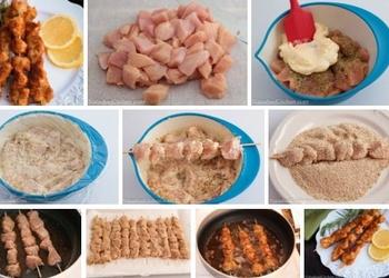 Rīvmaizē panēts vistas gaļas šašliks