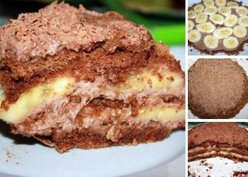 Šokolādes-banānu torte no prjaņikiem