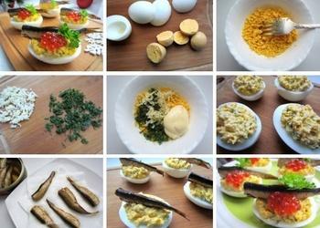 Pildītas olas ar šprotēm un sarkanajiem ikriem