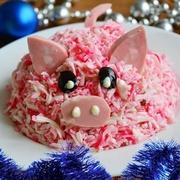 Праздничный салат на Год Свиньи 2019