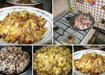 Cepti kartupeļi ar cūkgaļu un sēnēm