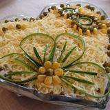 Vistas gaļas salāti ar sēnēm un sieru