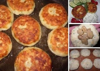 Kartupeļu kotletes ar sieru, sēnēm un dillēm