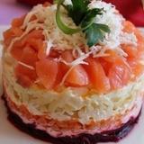 Mazkaloriju kārtainie laša salāti