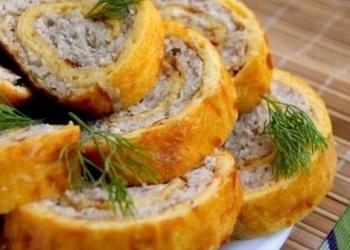 Vistas gaļas rulete omletē