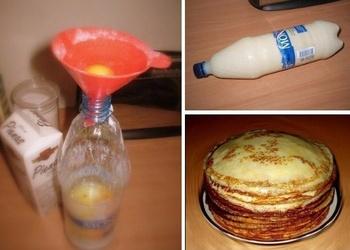 Pankūku mīklas gatavošana pudelē