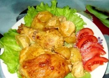 Krāsnī cepta vista marinādē, kopā ar kartupeļiem