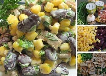 Kukurūzas, pupiņu un grauzdiņu salāti