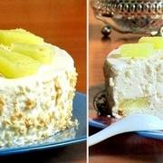 """Skābā krējuma torte """"Pinakolada"""" ar ananāsu gabaliņiem"""