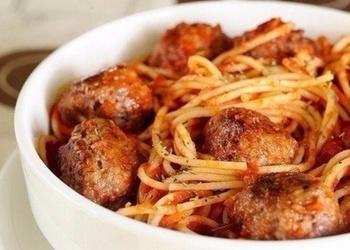 Спагeтти с мясными шариками в томатном соусe