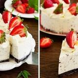 Biezpiena kūka ar putukrējumu un zemenēm