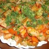 Krāsnī cepti kartupeļi ar burkāniem