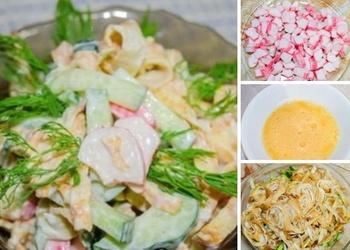 Vienkārši un garšīgi krabju nūjiņu salāti