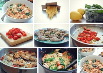 Makaroni ar garnelēm, tomātiem, citronu un spinātiem