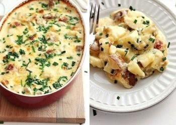 Krāsnī cepti kartupeļi ar sviestu, saldo krējumu un sieru