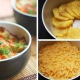 Krāsnī cepti kartupeļi ar saldo krējumu un sieru