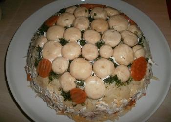 Šampinjonu torte - astoņās kārtas