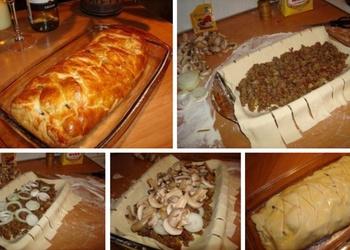 Gaļas pīrāgs ar sēnēm