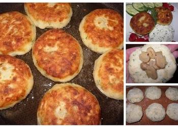 Kartupeļu,siera, sēņu, diļļu kotletes ar mērci