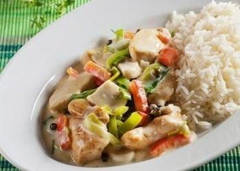 Vistas gaļa ar dārzeņiem un rīsiem