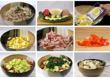 Šķiņķa salāti ar olām un dārzeņiem