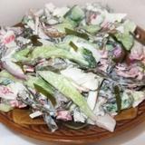 Jūras kāpostu salāti ar krabju nūjiņām