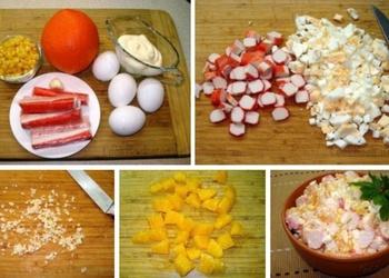 Krabju salāti ar apelsīniem, olām un kukurūzu
