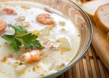 Суп сырный с креветками