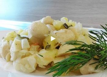Šampinjonu salāti ar kartupeļiem