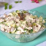 Recepte gardēžiem - Vistas, marinētu sēņu salāti