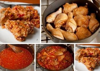 Vistas gaļa ar rīsiem tomātos