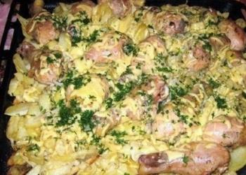 Kārtainais kartupeļu sacepums ar vistas gaļu