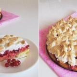 Lazdu riekstu bezē – sarkano jāņogu kūka