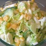Kāpostu, gurķu un konservētas kukurūzas salāti