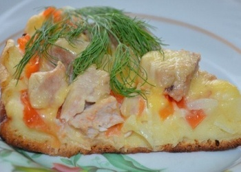 Pannā cepta pica ar tomātiem, vārītu gaļu un papriku