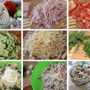 Šķiņķa salāti ar tomātiem, gurķiem un sieru