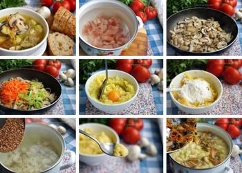 Sēņu zupa ar kartupeļu klimpām grieķu gaumē