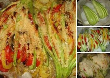 Pildīti kabači ar kūpinātu vistas gaļu, dārzeņiem un sēnēm